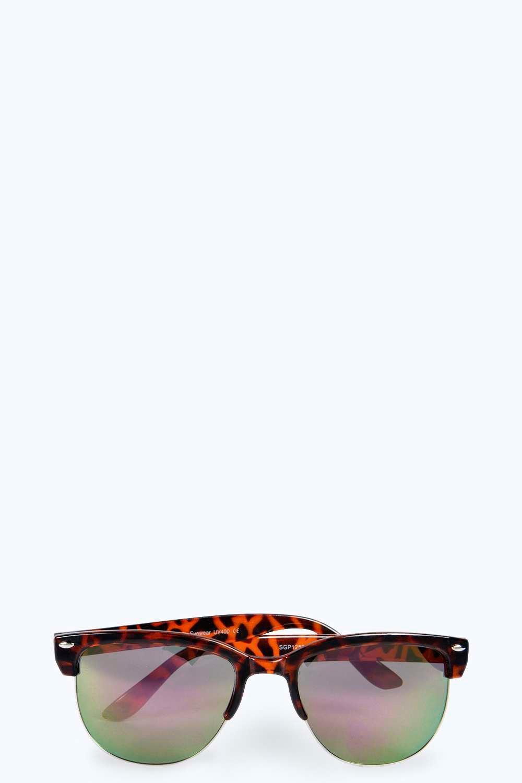 Boohoo Womens Davina Half Frame Tortoise Sunglasses