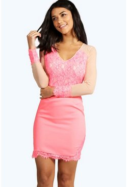 Ione Boutique Eyelash Lace Mesh Insert Bodycon