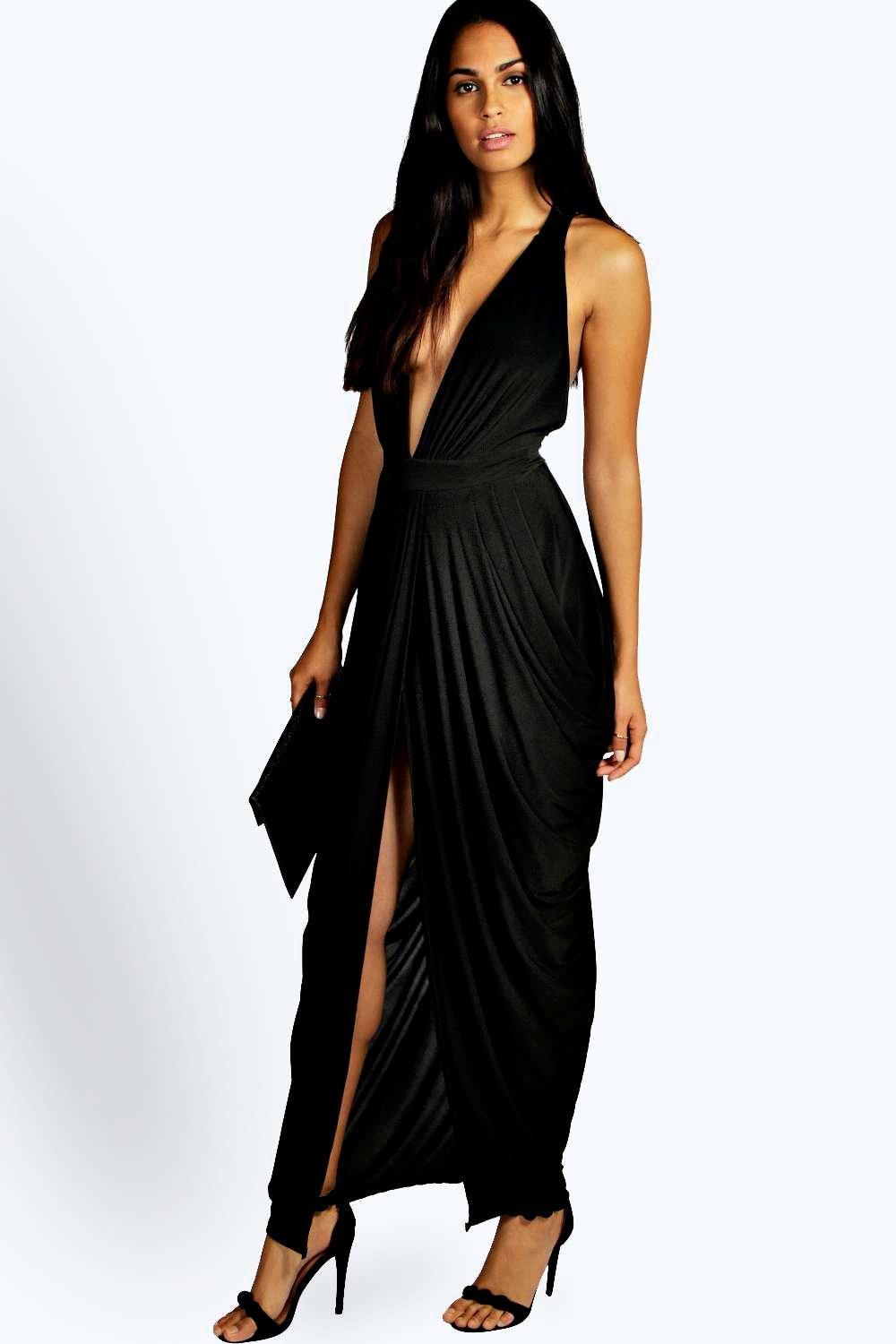 Plunge Drape Effect Maxi Dress  black