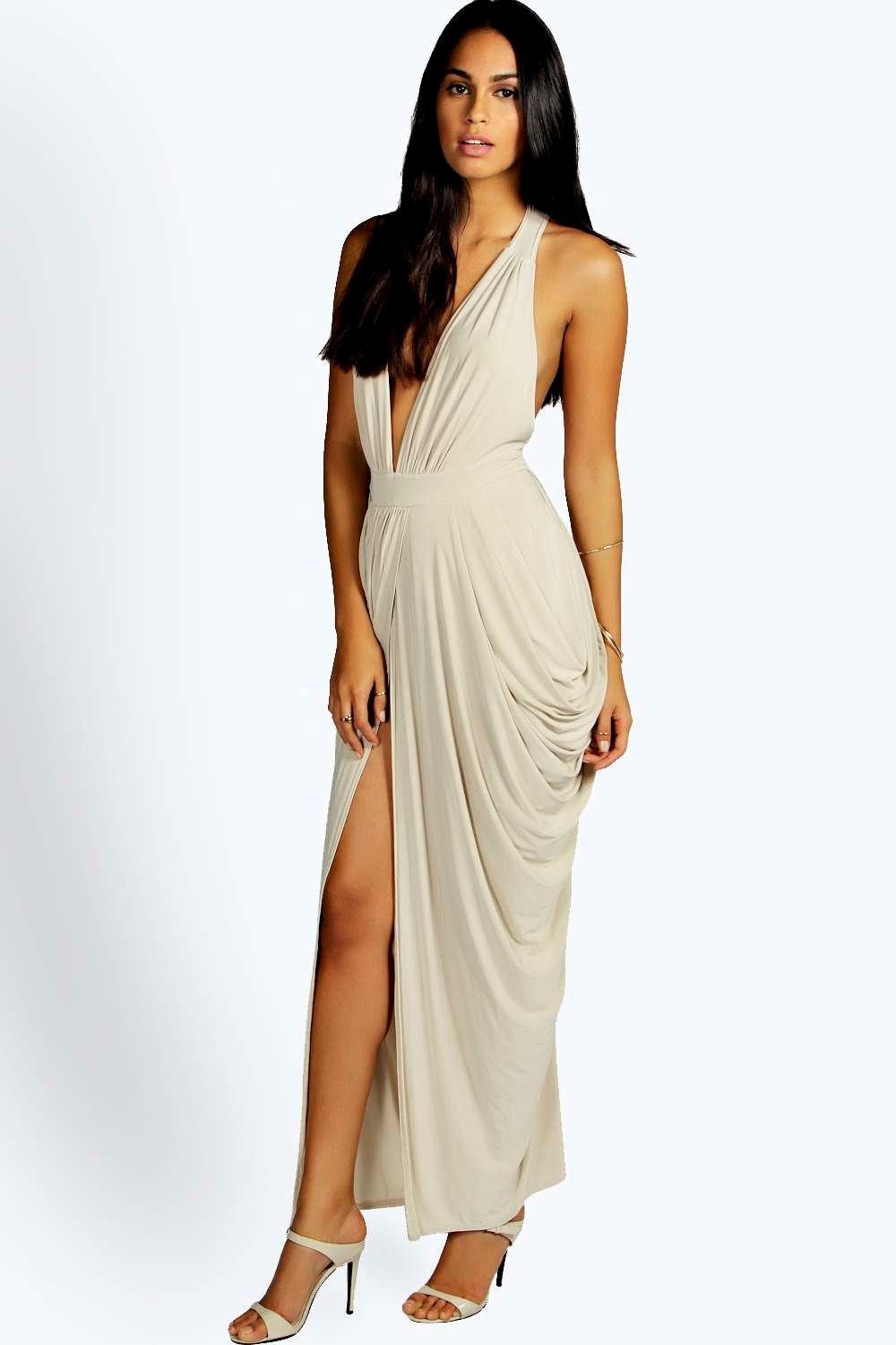 Emmie Plunge Drape Effect Maxi Dress