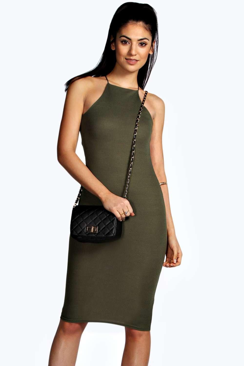 Demi Strappy Cutaway Midi Bodycon Dress