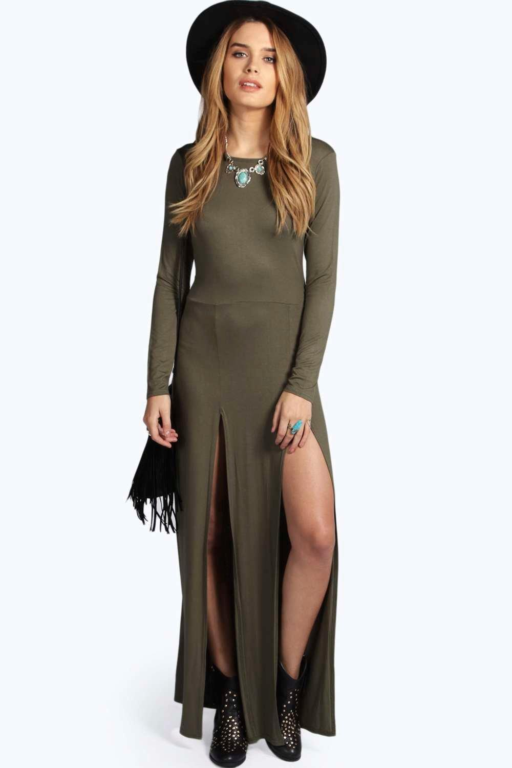Ebony Long Sleeve Double Split Maxi Dress