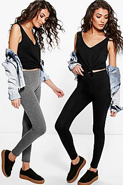 boohooRae Two Pack Basic Jersey Viscose Leggings