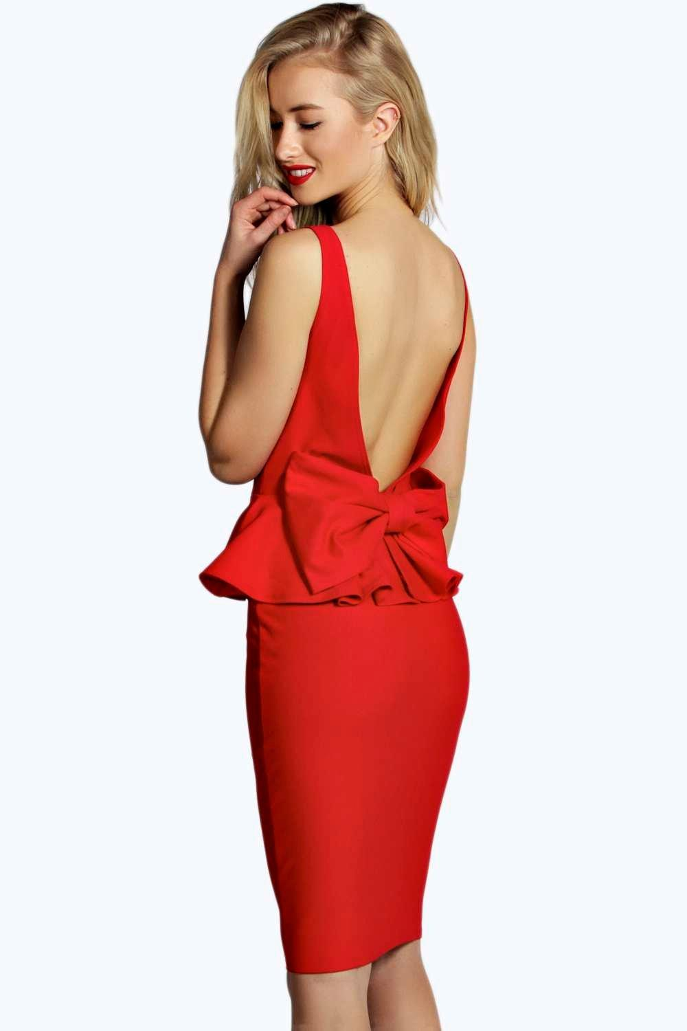 Tina Bow Back Detail Peplum Midi Dress