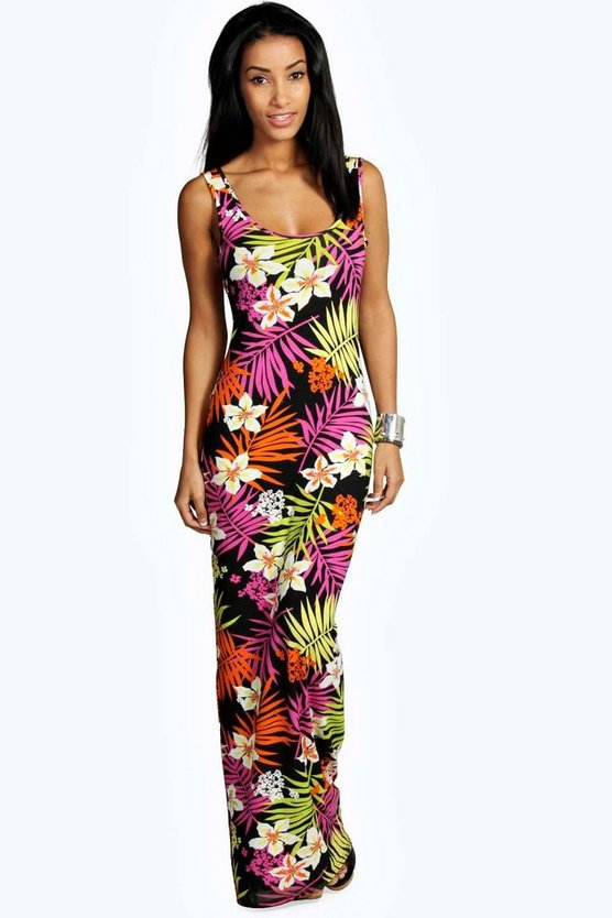 Tropical Scoop Neck Maxi Dress