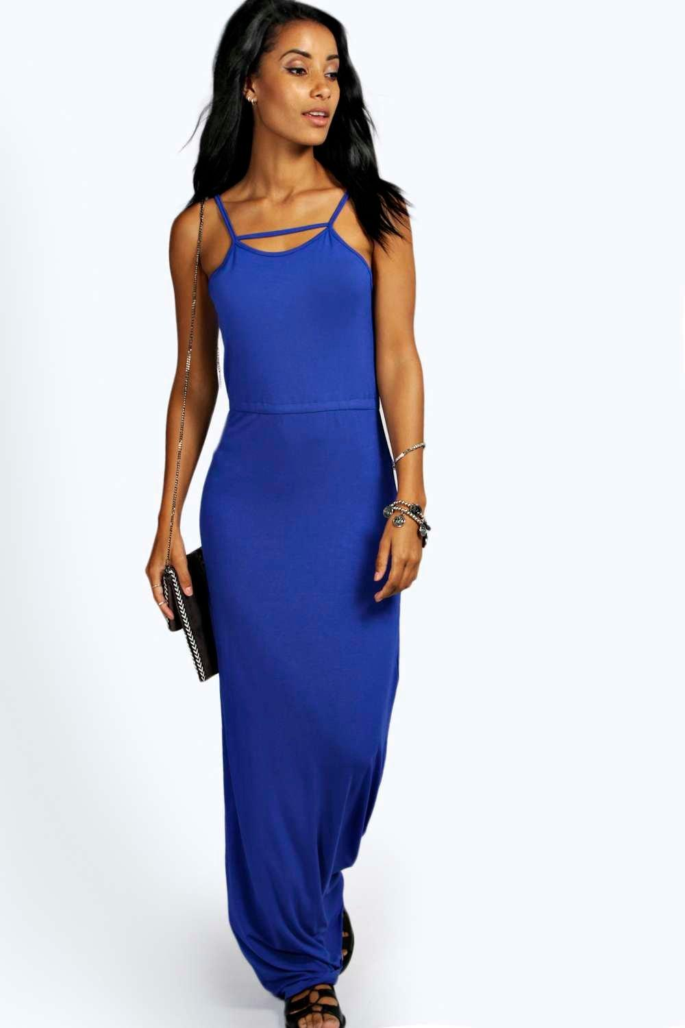 boohoo Khole Back Detail Bagged Over Maxi Dress - cobalt
