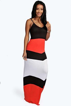 Natalie Chevron Panel Maxi Dress
