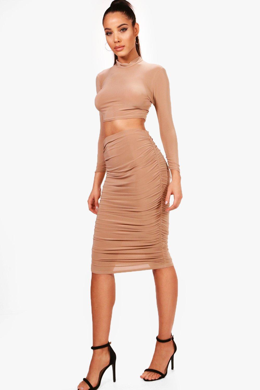 Suvi Rouched Sleeve Midi Skirt Co-Ord Set | Boohoo