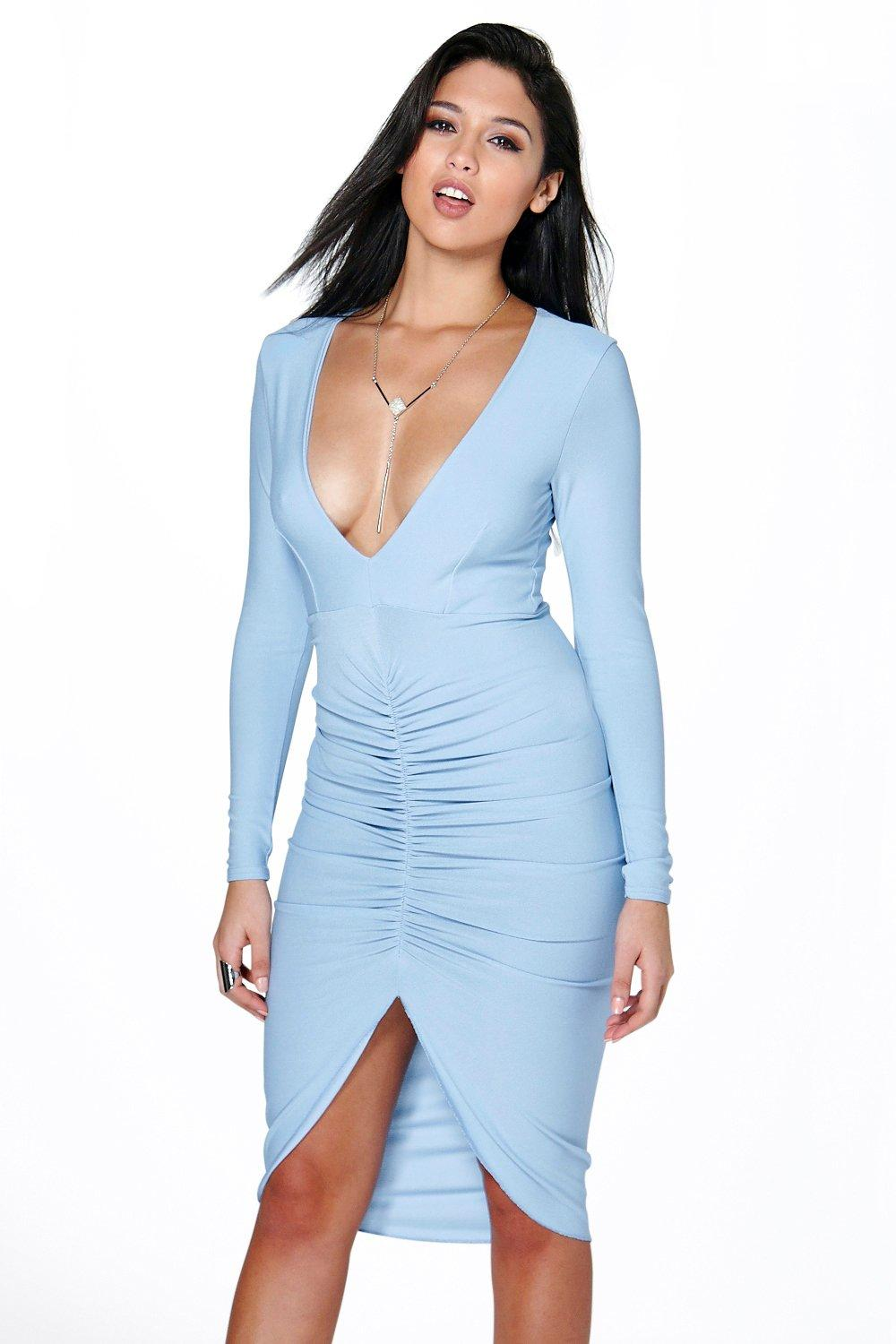 Plunge Front Rouched Midi Dress  sky
