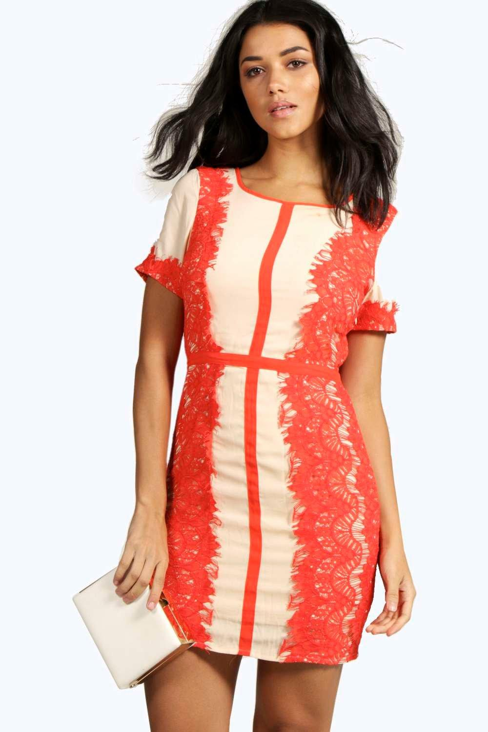 Tigerlily Boutique Panelled Lace Mini Dress