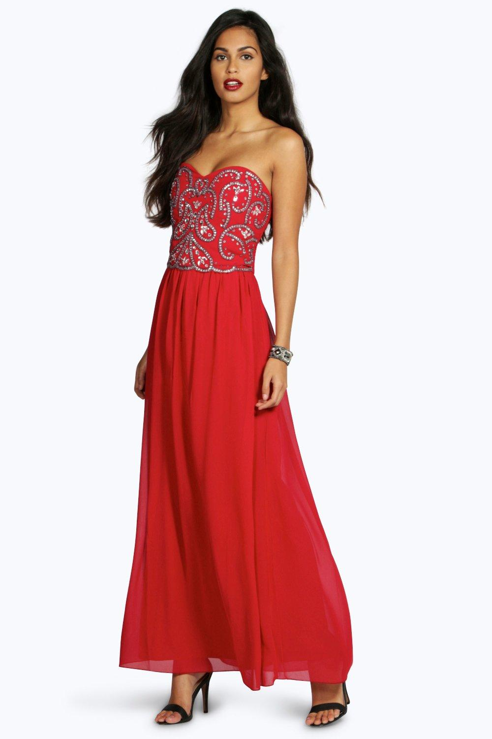 Boutique Lily Embellished Chiffon Maxi Dress