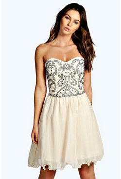 Lia Boutique Bandeau Embellished Prom Dress