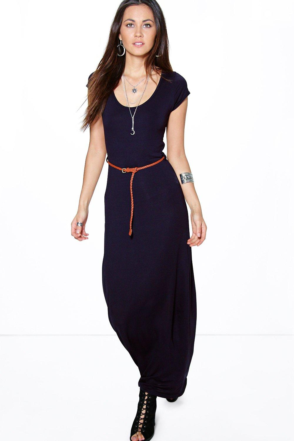 Cap Sleeve Belted Maxi Dress midnight