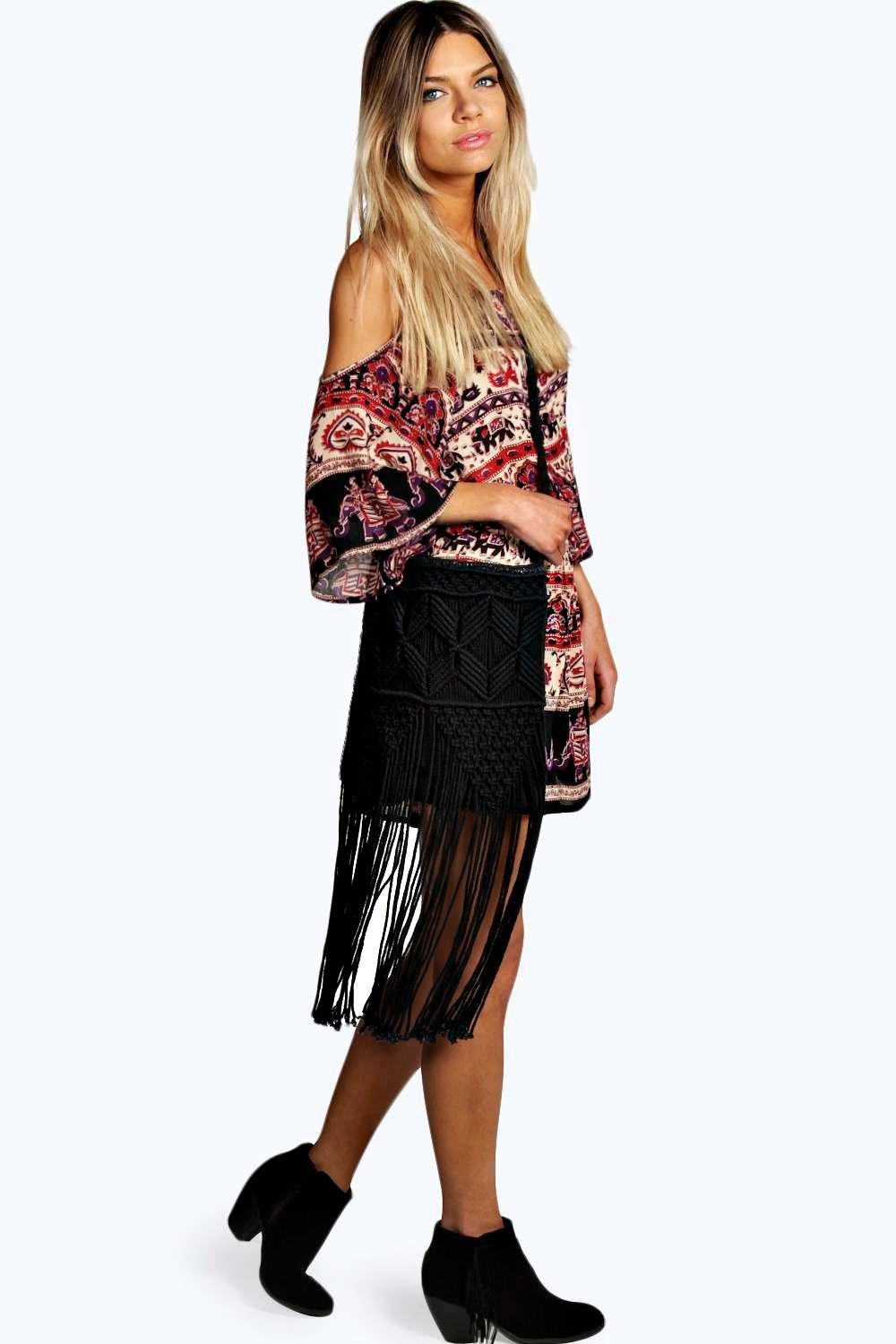 Lena Crochet Fringed Cross Body Bag