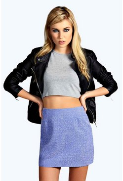 Maya Textured Woven A Line Mini Skirt