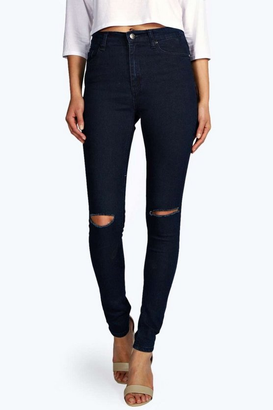 Lara High Rise Slit Knee Skinny Jeans