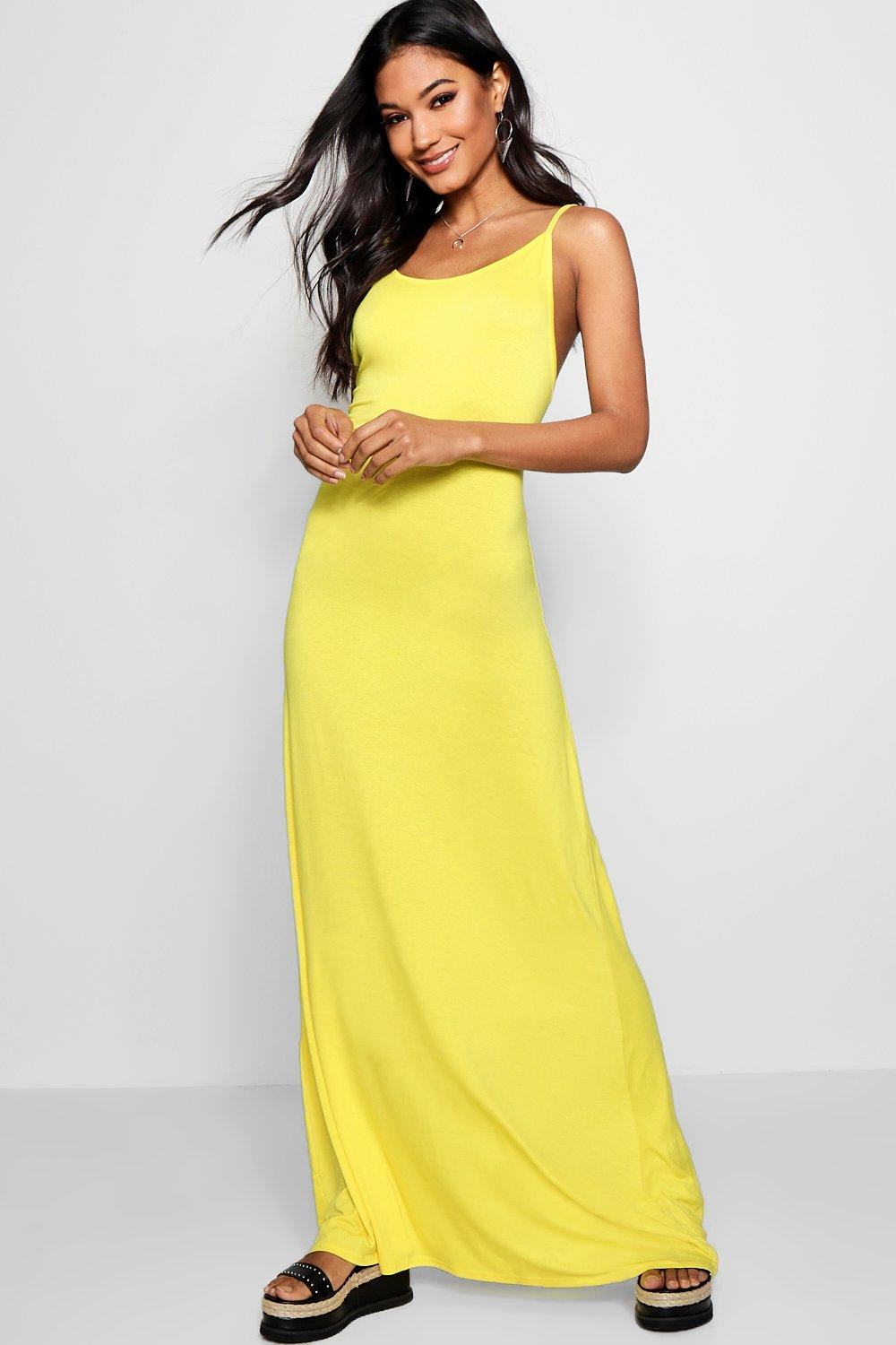 Strappy Low Back Maxi Dress  yellow