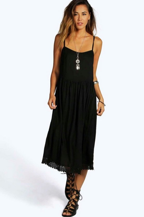 Karen Woven Crochet Hem Midi Dress