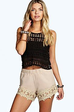 Charla Crochet Trim Shorts!