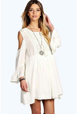 Fifi Crochet Insert Open Shoulder Woven Dress