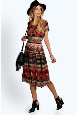Anisa Paisley Button Woven Midi Dress