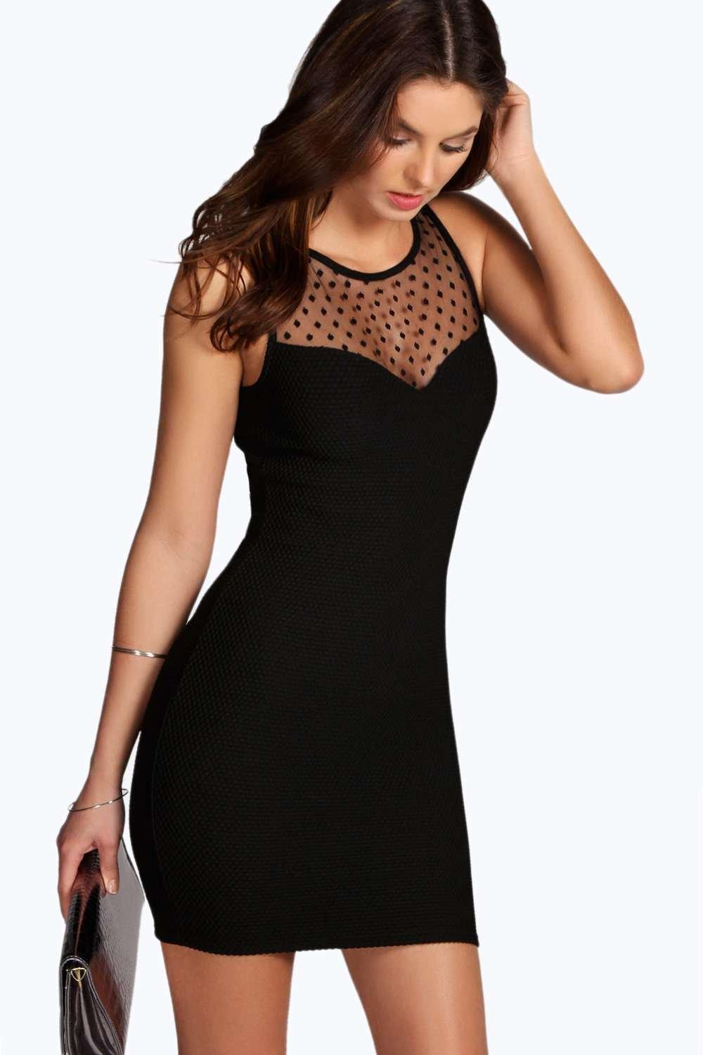 Tatiana Spot Mesh Textured Bodycon Dress