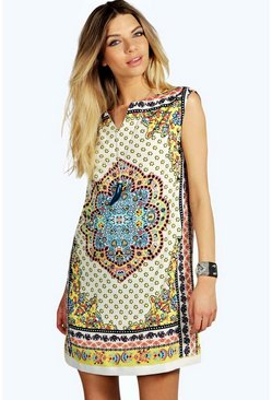 Lola Paisley Border Front Shift Dress