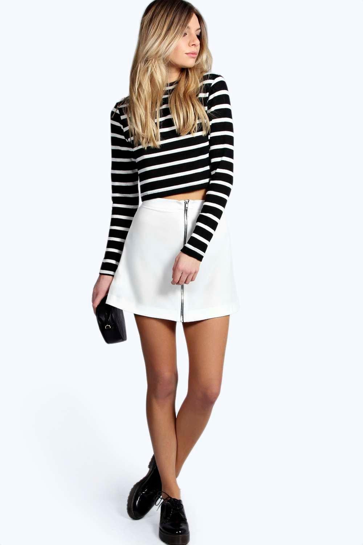 Demi Zip Front Woven A Line Mini Skirt