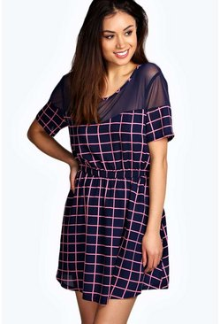 Georgie Grid Print Woven Skater Dress