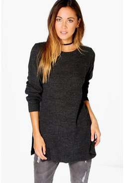 Emily Side Split Moss Stitch Tunic Jumper