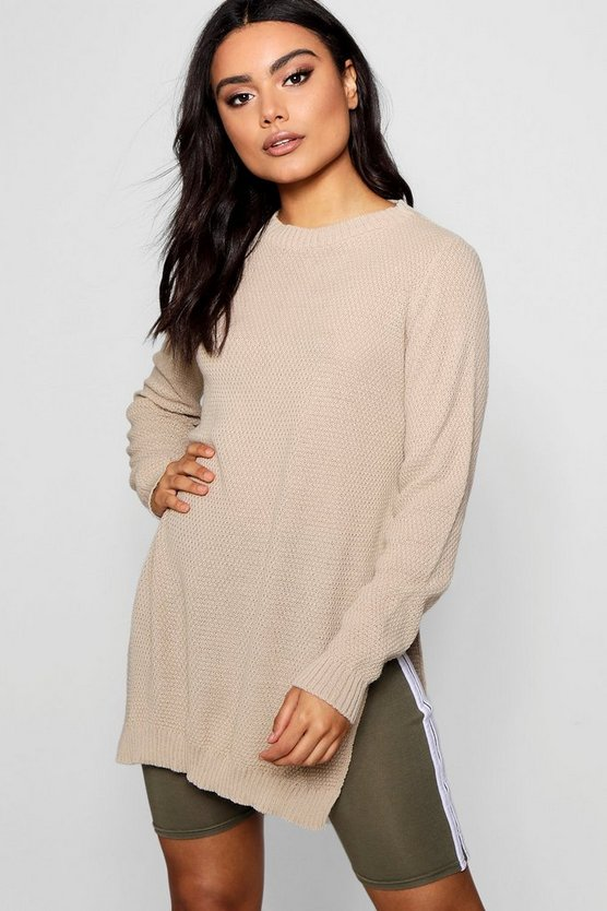 Side Split Moss Stitch Tunic Jumper