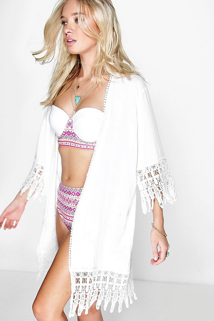 Rianna Embroidered Edged Beach Kimono
