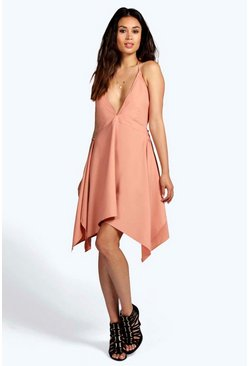 Talia Strappy Back Draped Hem Dress