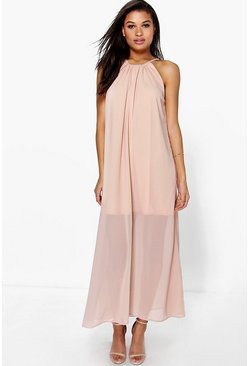 Suzie Chiffon High Neck Maxi Dress