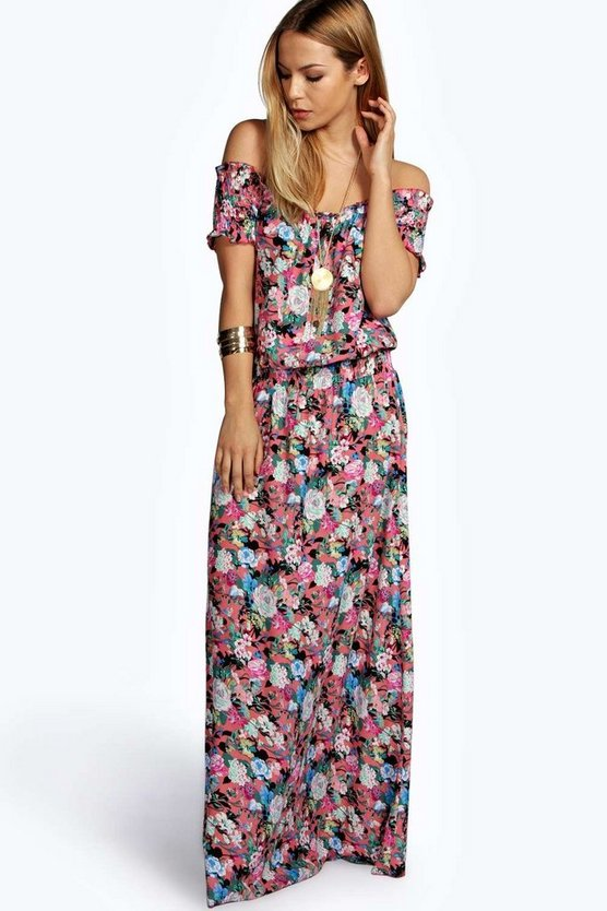 Bea Woven Floral Off The Shoulder Maxi Dress