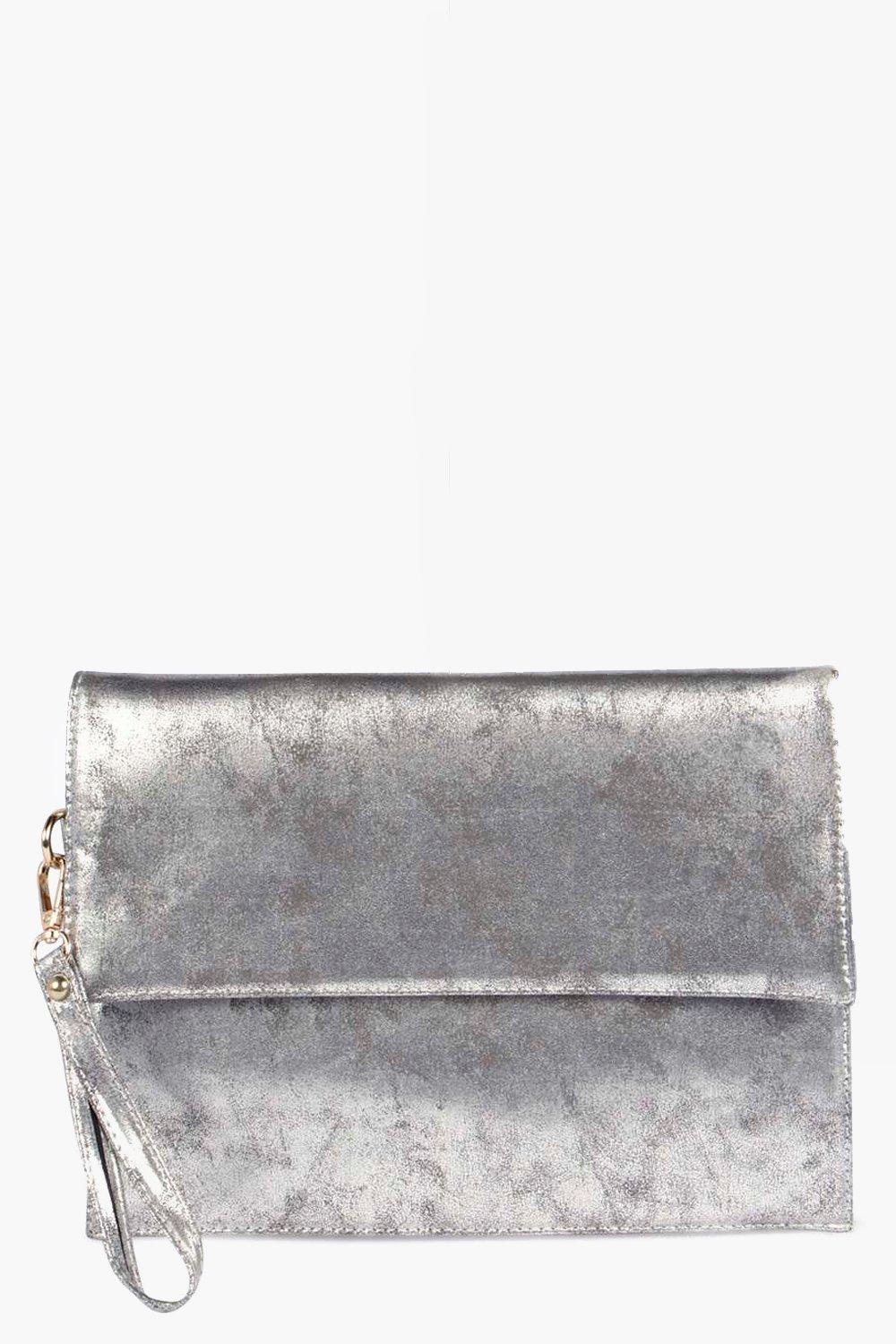 Oversized Clutch Bag silver
