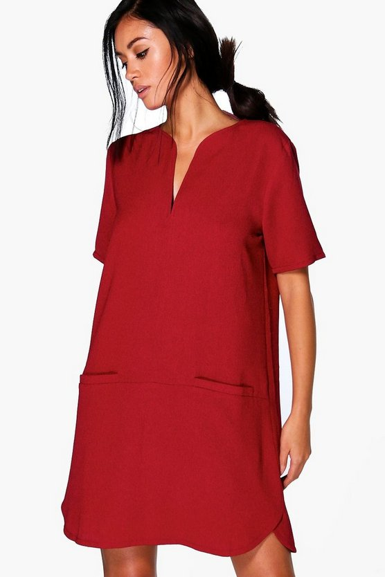 Hazel Crepe Curved Hem Shift Dress