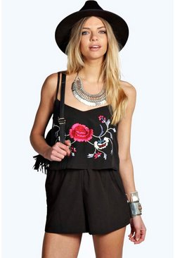 Boutique Poppy Embroidered Double Layer Playsuit