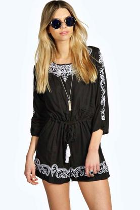 Mia Embroidered 3/4 Sleeve Pom Pom Detail Playsuit