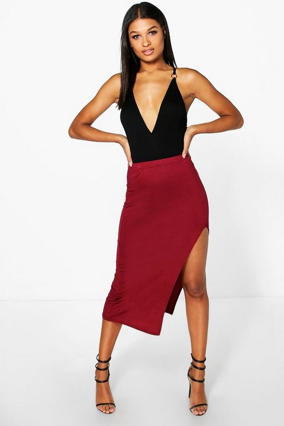 Basic Jersey Side Split Midi Skirt