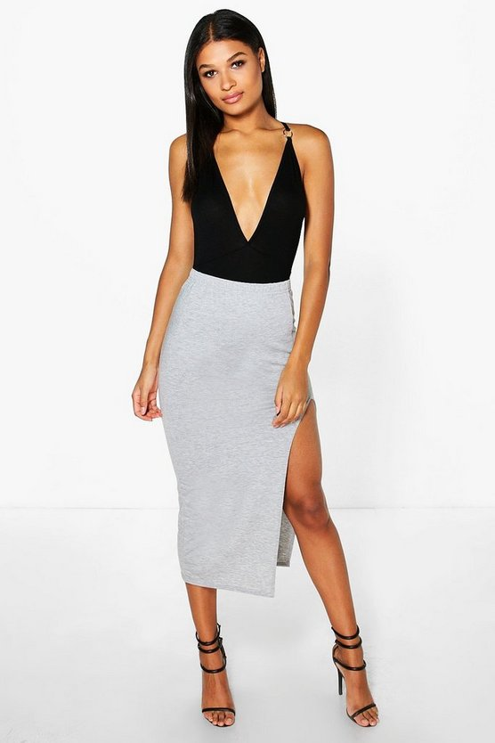 Chelsea Basic Jersey Side Split Midi Skirt