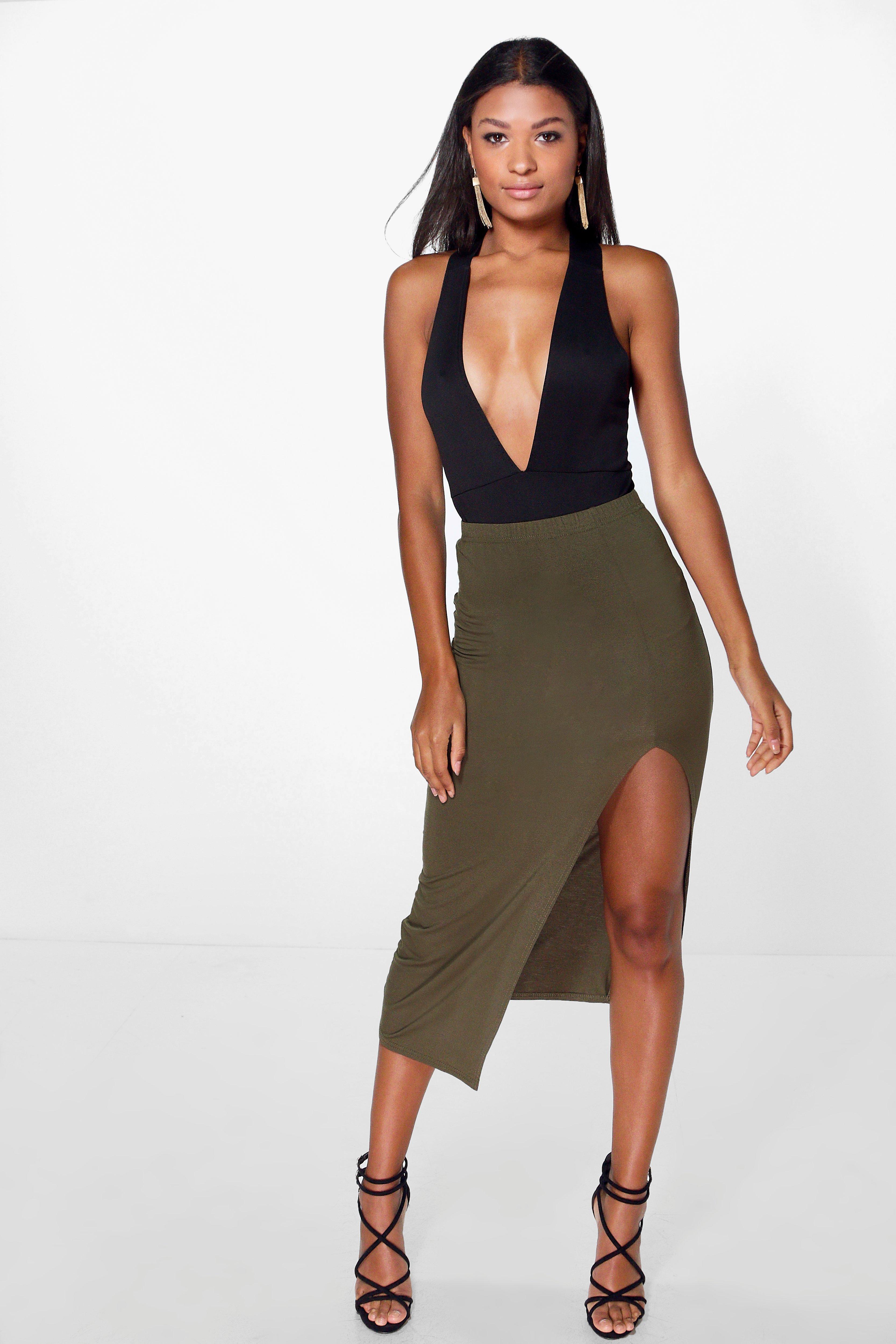 Side Split Tube Midi Skirt khaki