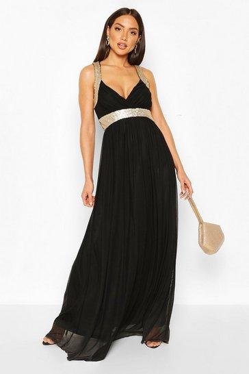 Black Boutique Sequin Panel Maxi Bridesmaid Dress