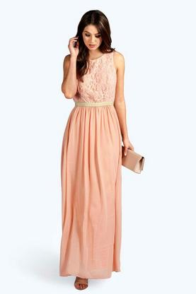 Boutique Zaynah Metallic Lace Detail Chiffon Maxi Dress