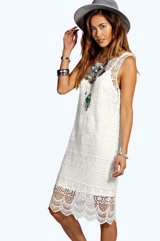 Lola Crochet Lace Midi Dress