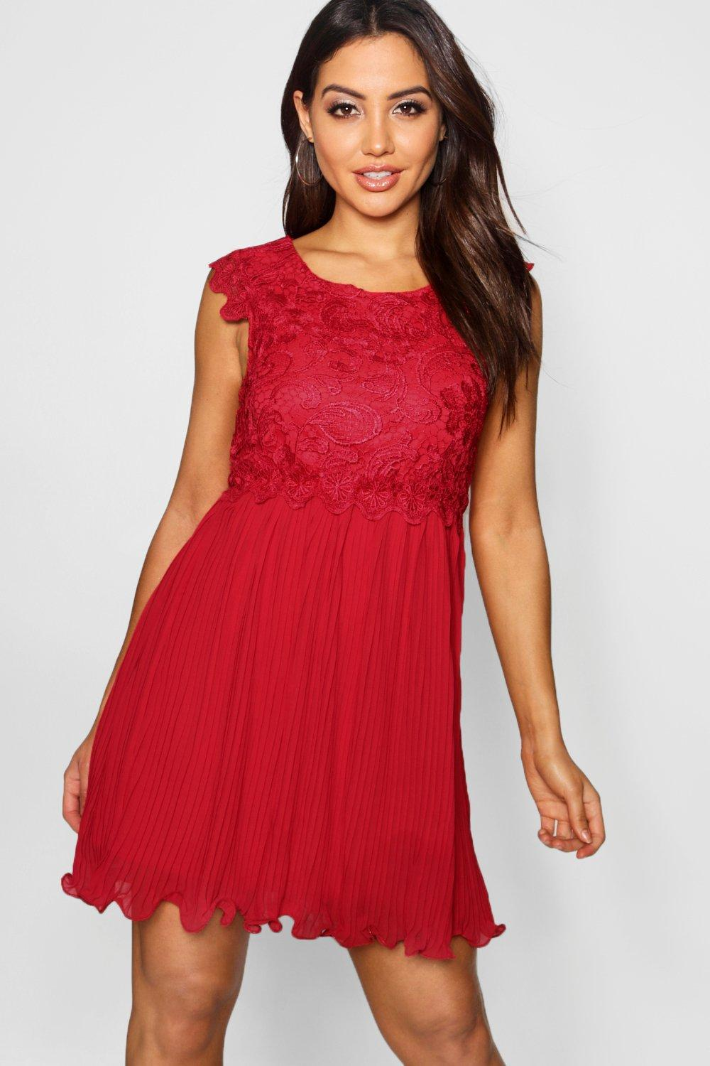 Corded Lace Pleated Skater Dress berry