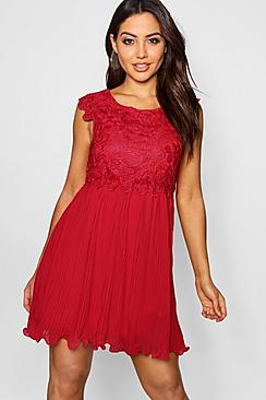 Boutique Elizabeth Corded Lace Pleated Skater Dress