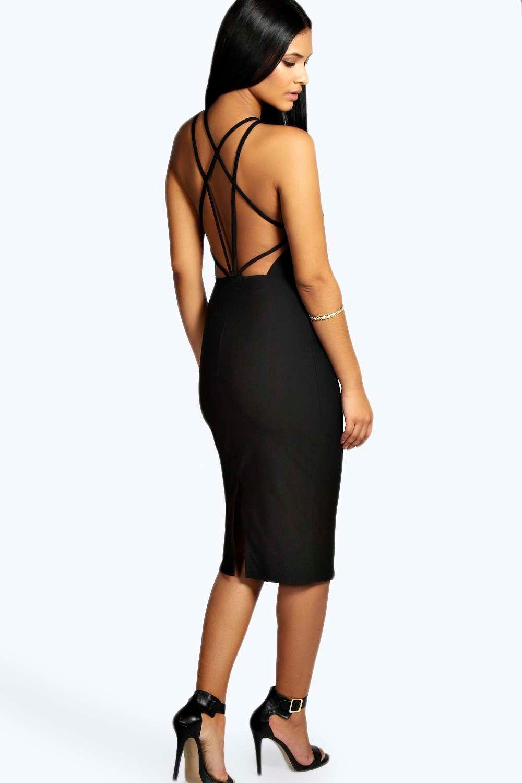 Crepe Strappy Back Midi Bodycon Dress black