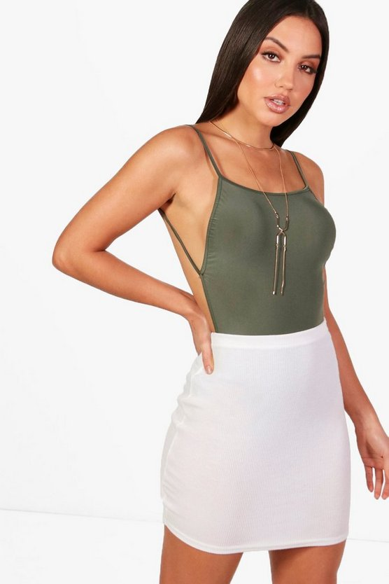 Leah Backless Strappy Slinky Bodysuit