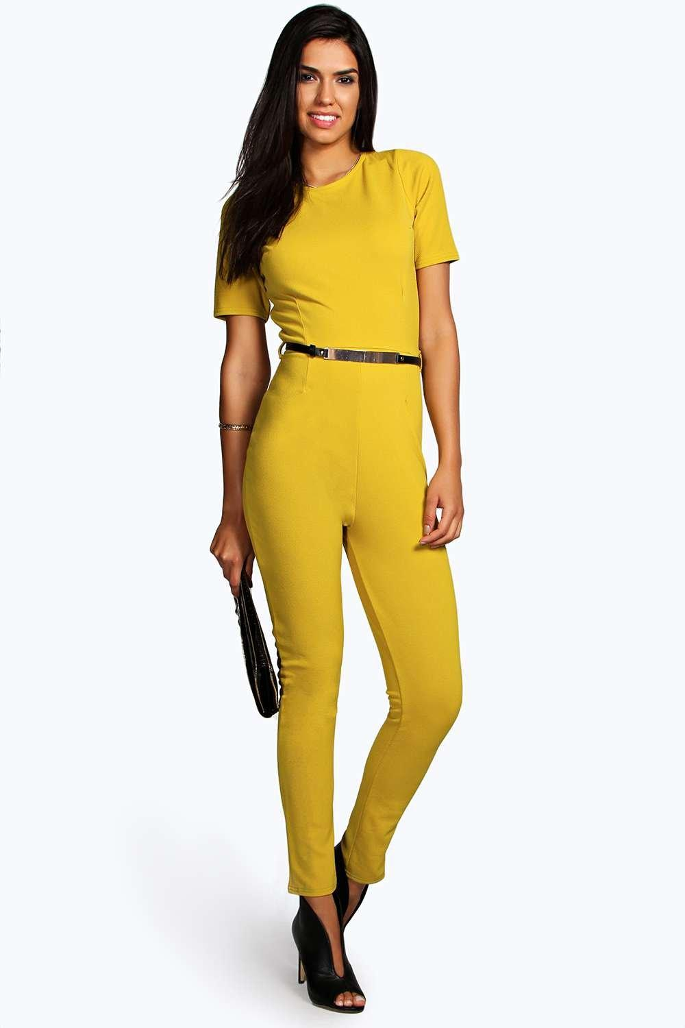 Cara Capped Sleeve Belted Jumpsuit